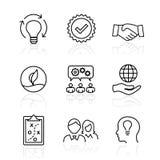 Valeurs de noyau - la mission, icône de valeur d'intégrité a placé avec la vision, chéri illustration de vecteur