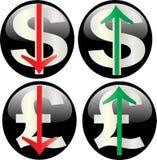 Valeurs en hausse et en baisse de devise Photo libre de droits