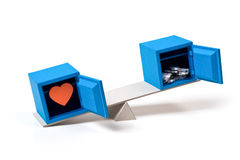 Valeurs humaines : amour et l'argent Images stock