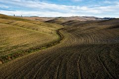 Valey of Tuscany. In autumn used for agriculture royalty free stock image