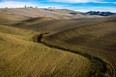 Valey of Tuscany. In autumn used for agriculture stock images