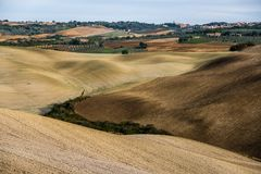 Valeys in Tuscany. Used for agriculture in the autumn stock image