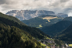 Valgardena valley in Dolomites Royalty Free Stock Photos