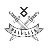 Valhalla  logotype with crossed monochrome swords and rune Royalty Free Stock Photo