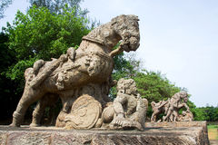 Valiant Stone Horses, Konark Royalty Free Stock Image
