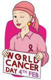 Valiant Woman who is Fighting and Celebrating World Cancer Day, Vector Illustration Stock Images