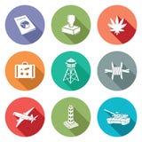 Valico di frontiera delle icone messe Illustrazione di vettore Fotografie Stock Libere da Diritti