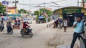 Valico di frontiera fra la Tailandia e la Cambogia immagine stock libera da diritti