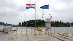 Valico di frontiera in Rovigno Fotografia Stock