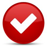 Validate icon special red round button Royalty Free Stock Images