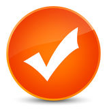 Validation icon elegant orange round button Stock Image