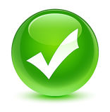 Validation icon glassy green round button Stock Photo
