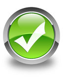 Validation icon glossy green round button Stock Photos