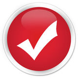 Validation icon premium red round button Stock Photography