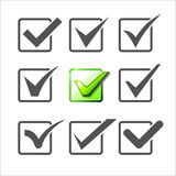 Validation icons set of nine different check marks. Royalty Free Stock Photo