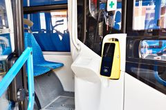 Validator for fare on bus. Validator for fare on the bus royalty free stock photography