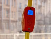 Validator in modern transport. Ticket validator in modern urban transport. contactless fare stock photography