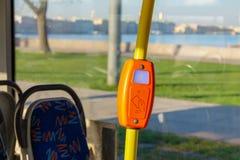 Validator in modern transport. Ticket validator in modern urban transport. contactless fare stock photos