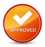 (Valide el icono) botón redondo anaranjado vidrioso especial aprobado ilustración del vector