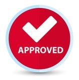 (Valide el icono) botón rojo primero plano aprobado de la ronda stock de ilustración