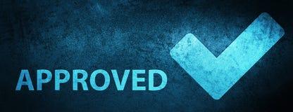 (Valide el icono) fondo azul especial aprobado de la bandera stock de ilustración