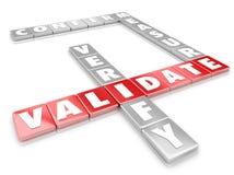 Valide las tejas de la letra de la palabra certifican verifican confirman medida Imagen de archivo libre de regalías