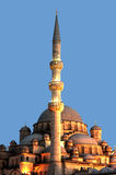 Yeni Mosque/Valide Sultan Mosque lights on Royalty Free Stock Image