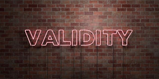 VALIDITY - fluorescent Neon tube Sign on brickwork - Front view - 3D rendered royalty free stock picture. Can be used for online banner ads and direct mailers royalty free illustration