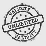 Validity unlimited rubber stamp isolated on white. Validity unlimited rubber stamp isolated on white background. Grunge round seal with text, ink texture and Stock Photography