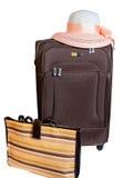 Valigia, borsa e cappello di Brown isolati su bianco Fotografie Stock