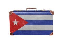 Valigia d'annata con la bandiera di Cuba Immagini Stock Libere da Diritti