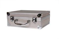 Valigia d'argento isolata Immagine Stock