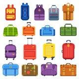 Valigia del bagaglio Tratti la borsa di viaggio, zaino dei bagagli e le valigie di affari hanno isolato l'insieme piano di vettor illustrazione di stock
