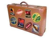 Valigia del viaggiatore di mondo Fotografia Stock