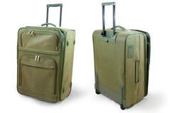 Valigia di cuoio cachi di corsa Fotografie Stock Libere da Diritti