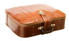 Valigia di cuoio con le chiusure lampo e la serratura Fotografia Stock