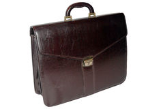 Valigia di cuoio di affari (colore marrone scuro) - isolato Fotografie Stock