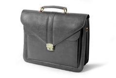 Valigia di cuoio di affari (il nero) - isolato Immagine Stock