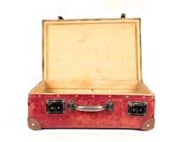 Valigia di cuoio marrone dell'annata aperta Fotografie Stock Libere da Diritti