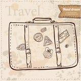 Valigia di viaggio con gli autoadesivi disegnati a mano Illustrazione di Stock