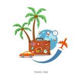 Valigia di viaggio con il globo e le icone Immagini Stock