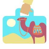 Valigia di viaggio con l'immagine del cammello Immagine Stock