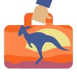 Valigia di viaggio con l'immagine del canguro Immagine Stock Libera da Diritti