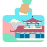 Valigia di viaggio con l'immagine della casa stile giapponese Fotografia Stock Libera da Diritti