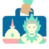 Valigia di viaggio con l'immagine della statua buddista Fotografia Stock Libera da Diritti