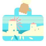 Valigia di viaggio con l'immagine di paesaggio greco Immagine Stock