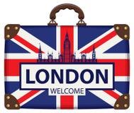 Valigia di viaggio con la bandiera della Gran-Bretagna e di Big Ben Fotografia Stock