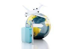 valigia di viaggio 3d, aeroplano e globo del mondo concetto di corsa Fotografie Stock