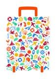 Valigia di viaggio delle icone di estate Immagini Stock Libere da Diritti