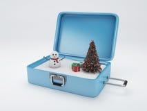 Valigia di viaggio vacanza di inverno, concetto di feste Fotografie Stock Libere da Diritti